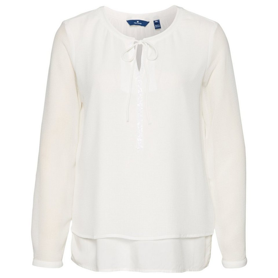TOM TAILOR Bluse »lovely double layer blouse« in whisper white