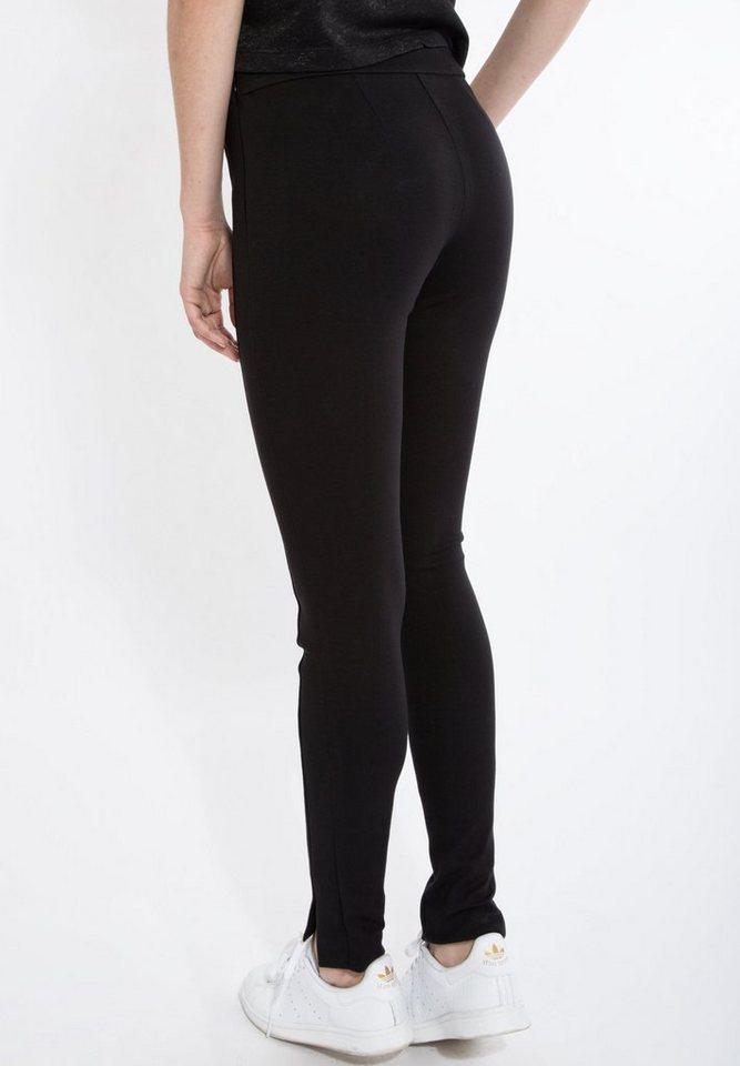 Mexx Stretch-Hose mit Schlitzen in schwarz