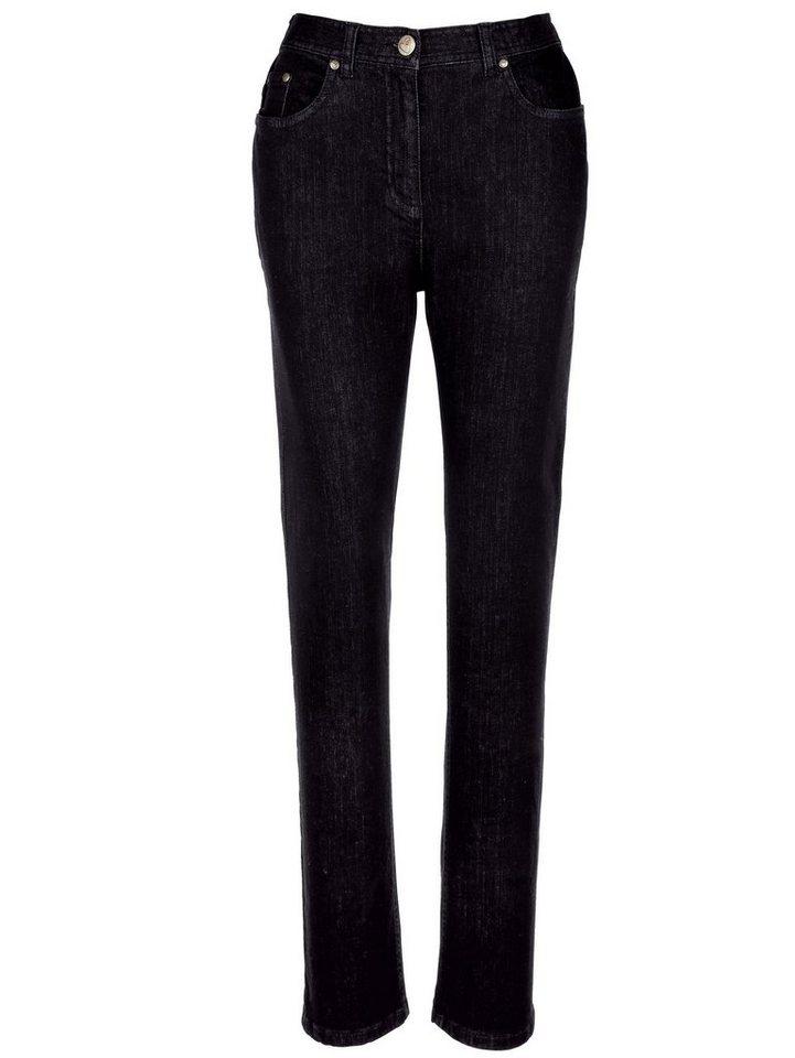 MIAMODA Straight-Fit-Jeans mit aufwendiger Stickerei in black denim