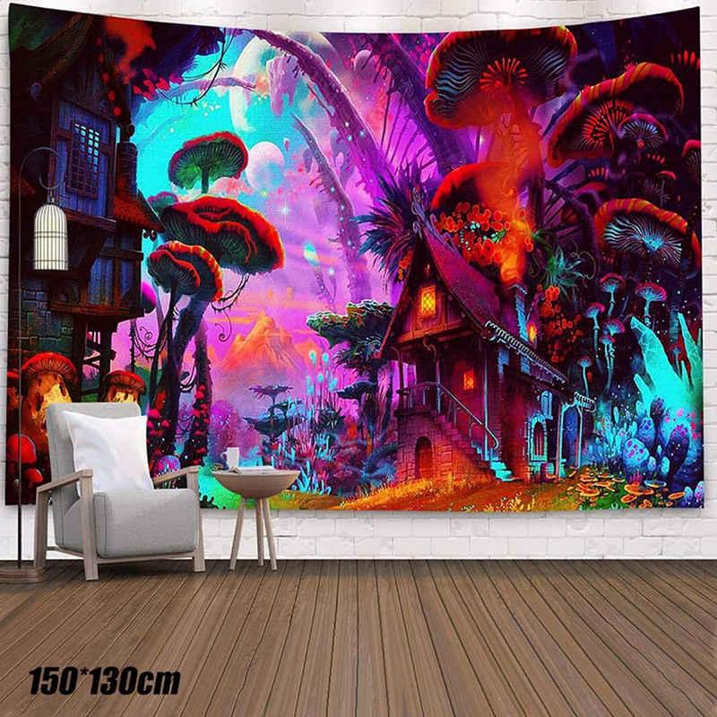 Wandteppich, Masbekte, 150*130cm, aus Weiches Mikrofaser Stoff,das Wohn und Schlafzimmer, rechteckig, Pilz Muster Wandbehang Gobelin