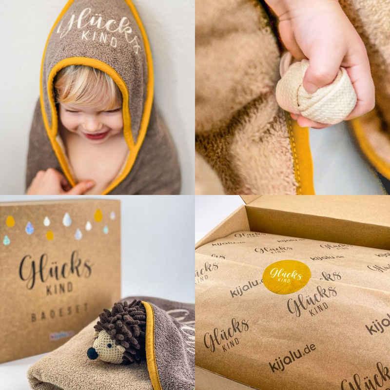 Babybademantel »Set aus Badetuch mit Kaputze, Waschigel und Motorik-Knoten«, Kijalu