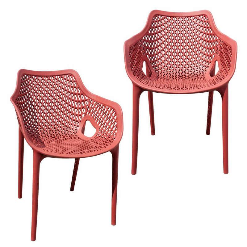 TRISENS Gartenstuhl (2 Stück), Gartensessel Gartenstuhl Kunststoff Stapelstuhl Armlehne Küchenstuhl Bistrostuhl