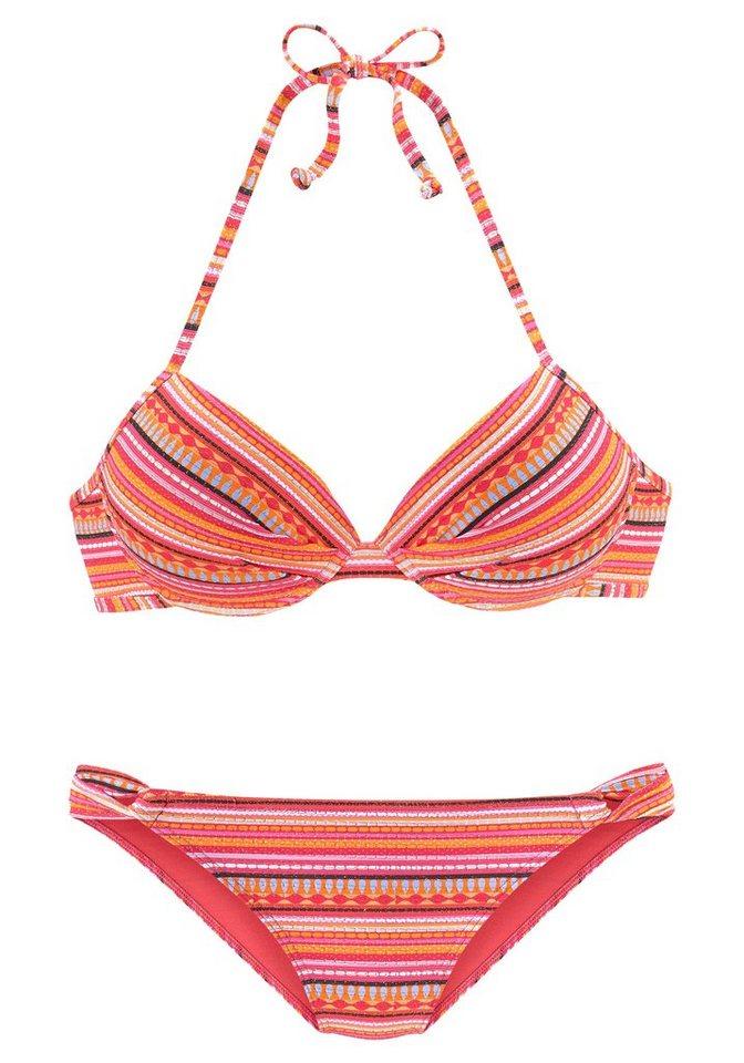 Bademode - LASCANA Push Up Bikini mit glitzernden Streifen › orange  - Onlineshop OTTO