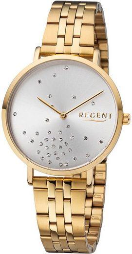 Regent Quarzuhr »URBA596 Regent Damen Uhr BA-596 Edelstahl«, (Analoguhr), Damen Armbanduhr rund, Edelstahlarmband gold