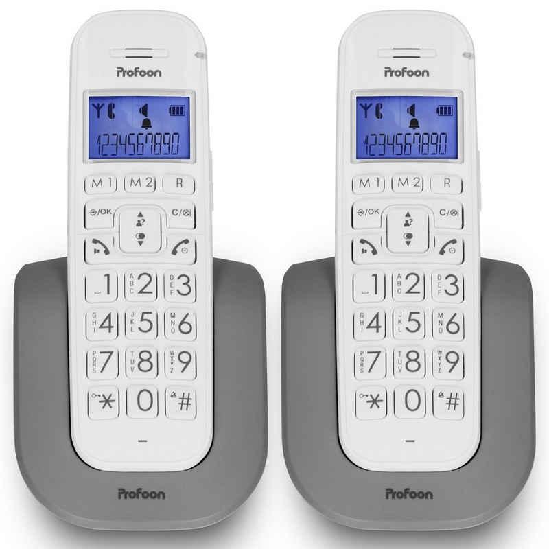 Profoon »DECT-Telefon mit großen Tasten & 2 Mobilteilen« Schnurloses Mobilteil (Mobilteile: 2, Senioren Telefon)