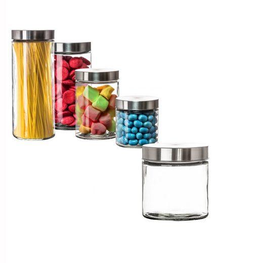 BigDean Vorratsdose »Vorratsglas 0,85 Liter Glas Schraubglas Lebensmittelglas Edelstahldeckel«, Glas, (1-tlg)