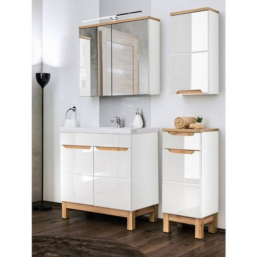 Lomadox Badmöbel-Set »SOLNA-56«, (Spar-Set, 6-tlg), Badezimmermöbel mit 80cm Waschtisch & LED-Spiegelschrank in Hochglanz weiß, B/H/T ca.: 130/200/46 cm