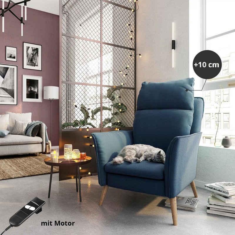PLACE TO BE. Relaxsessel »Motorischer Relaxsessel Ruhesessel Funktionssessel Insideout mit Fernbedienung und XXL Rückenlehne«, Motorischer Relaxsessel Ruhesessel Funktionssessel Insideout mit Fernbedienung und XXL Rückenlehne Blau Eiche