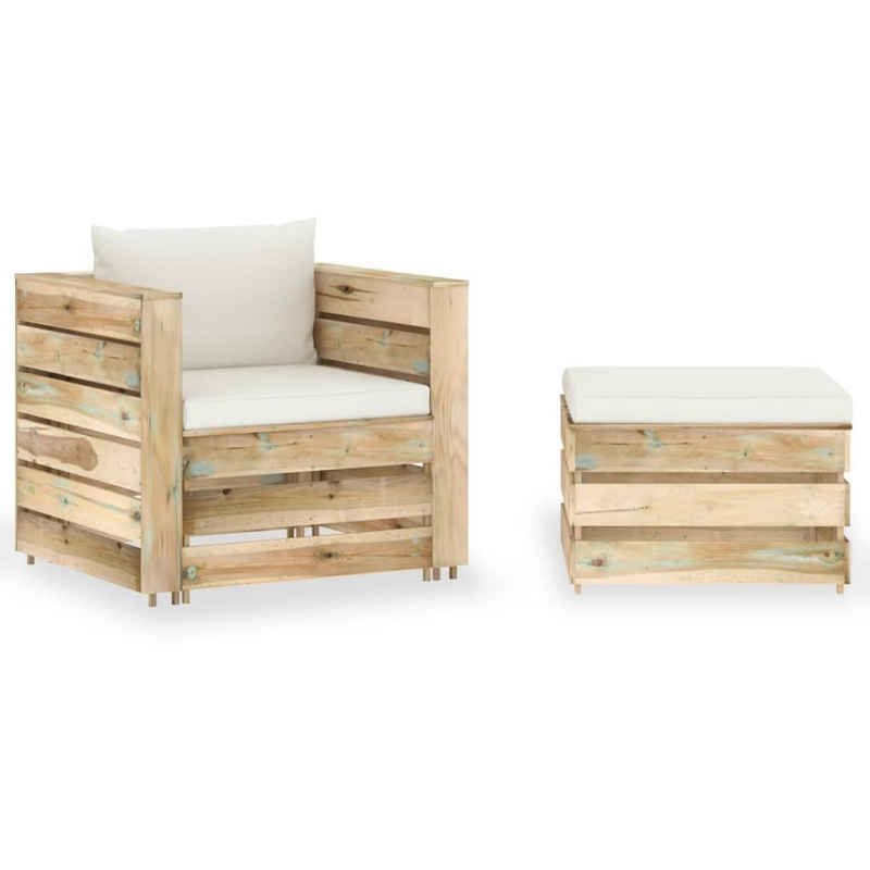 vidaXL Gartenmöbelset »vidaXL 2-tlg. Garten-Lounge-Set mit Kissen Grün Imprägniertes Holz«