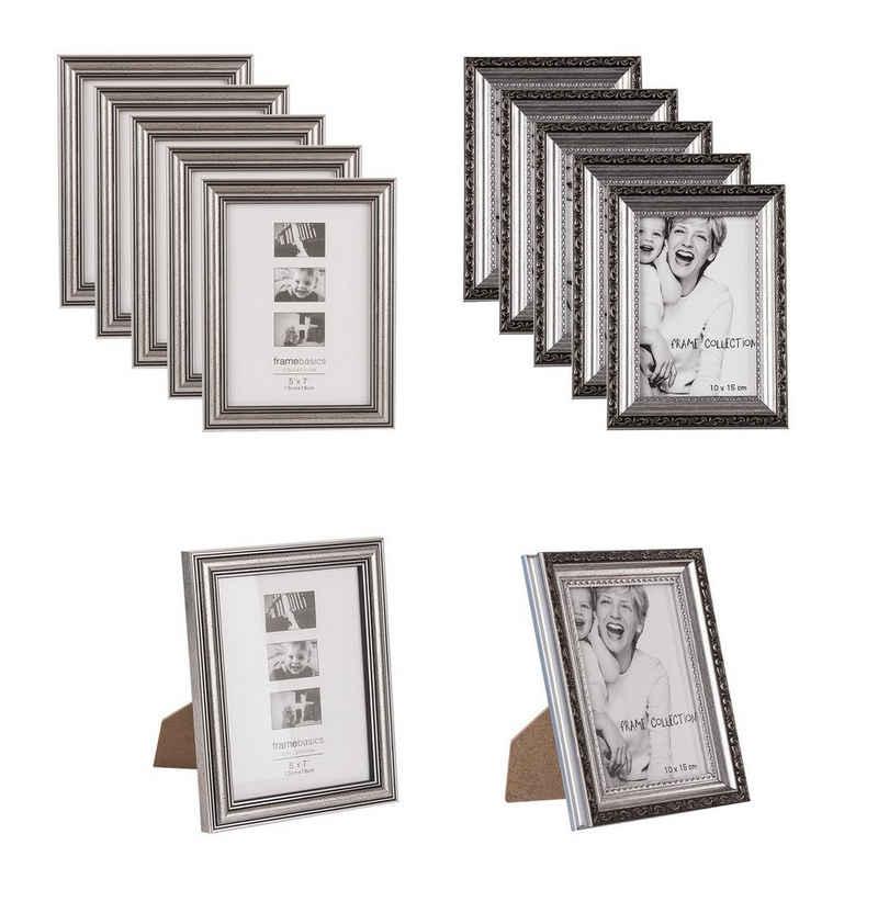 BigDean Bilderrahmen-Set »12x Retro−Bilderrahmen in Silber−Farben 19 x 14 cm & 18 x 13 cm − Antik−Optik im Vintage−Stil − Innenmaße ca. 10x15 cm − Nostalgischer Fotorahmen für Bilder, Fotos & Postkarten«, (12 Stück)