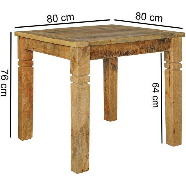 Esstisch »FB45593«, Esszimmertisch Braun 80 x 80 x 76 cm Mango Massivholz Design Landhaus Esstisch Massiv Tisch für Esszimmer Quadratisch
