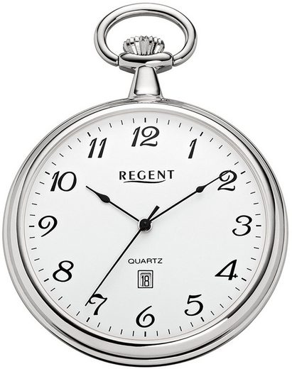 Regent Taschenuhr »URP080 Regent Taschenuhr für Damen Herren P-80«, (Analoguhr), Taschenuhr rund, extra groß (ca. 48mm), Metall verchromt, Elegant