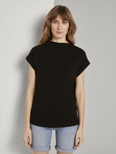 TOM TAILOR T-Shirt »T-Shirt mit Stehkragen«