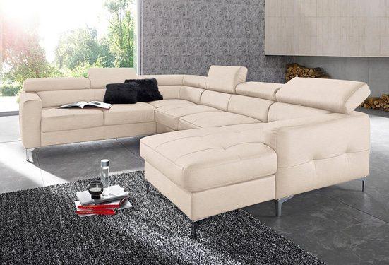 COTTA Polstergarnitur, (Set), Set: bestehend aus Wohnlandschaft und Hocker, Sofa wahlweise mit Bettfunktion