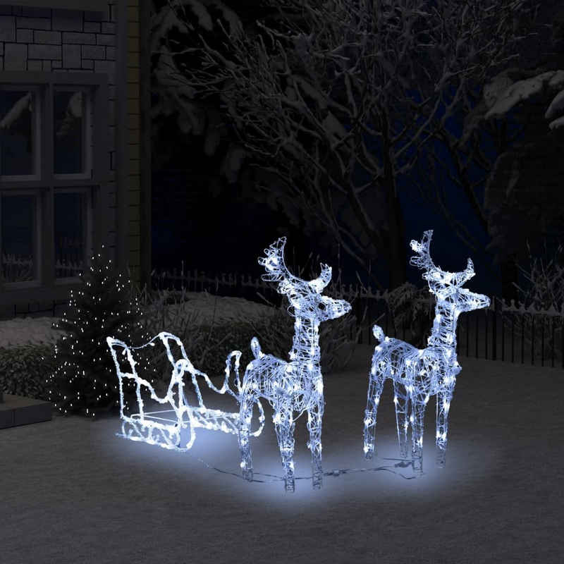 vidaXL Streudeko »vidaXL Rentiere Schlitten Weihnachtsdekoration 240 LEDs 130 cm Acryl«, (240-tlg)