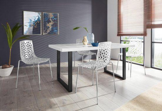 Essgruppe »Manger/Michael 160«, (Set, 5-tlg), mit 4 Stühlen, Tisch mit U-Gestell in Edelstahl oder schwarz