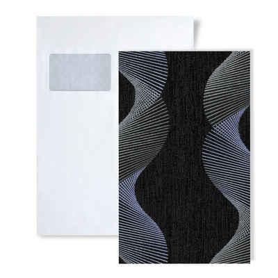 Edem Papiertapete »S-85035BR36«, gestreift, grafisch, Metall-Effekte, (1 Musterblatt, ca. A5-A4), anthrazit, schwarz-grau, violett-blau, silber