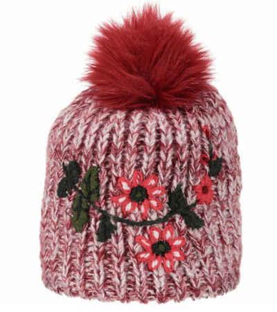 CAMPAGNOLO Strickmütze »Campagnolo Winter-Mütze schicke Bommel-Mütze für Kinder mit Blumen-Print Winter-Mütze Pink/Weiß«