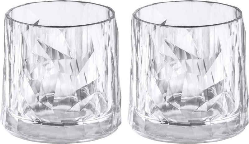 KOZIOL Whiskyglas »CLUB No. 2«, Kunststoff, tolles Facettendesign, unzerbrechlich, 100% recycelbar, made in Germany, spülmaschinengeeignet, 250ml, 2er-Set