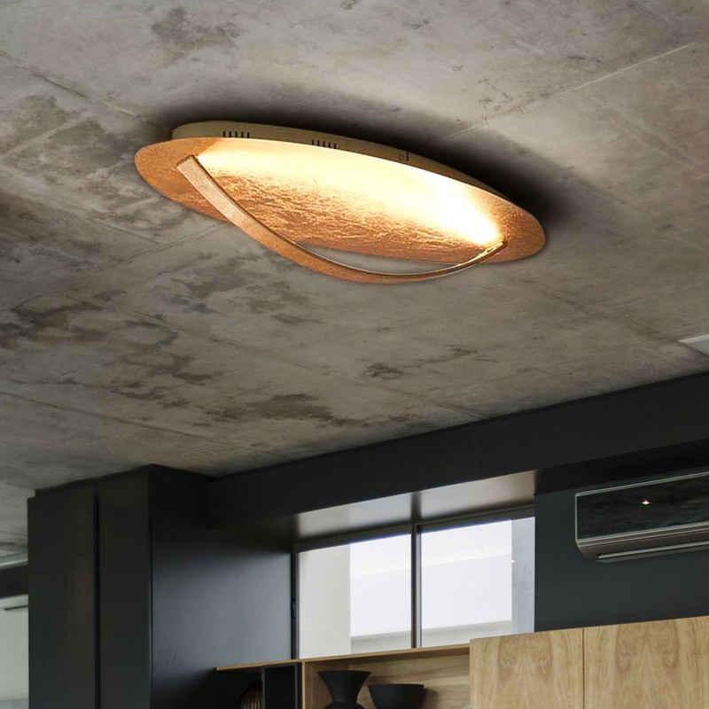 WOFI Deckenstrahler, LED Deckenlampe Deckenleuchte Wohnzimmerlampe Küchenleuchte, Metall, Goldfarbig, LxBxH 66x35x14 cm, Wofi 9072.01.15.7000