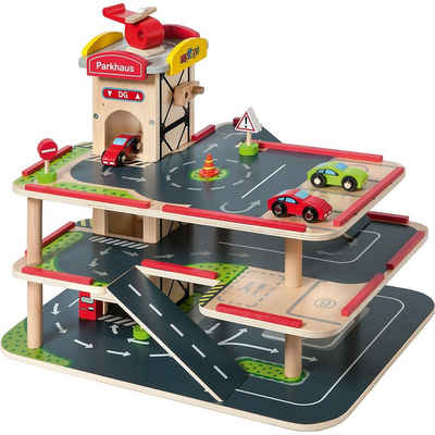 myToys Spiel-Parkgarage »Parkgarage aus Holz inkl. Autos, 10-tlg.«