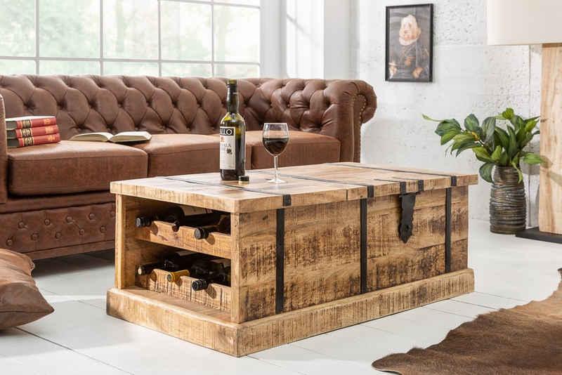 riess-ambiente Couchtisch »BODEGA 100cm natur«, Wohnzimmer· Massivholz · eckig · Truhe · Hausbar