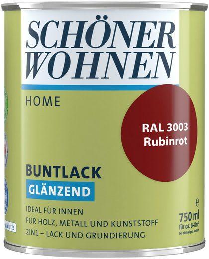 SCHÖNER WOHNEN FARBE Lack »Home Buntlack«, glänzend, 750 ml, rubinrot RAL 3003