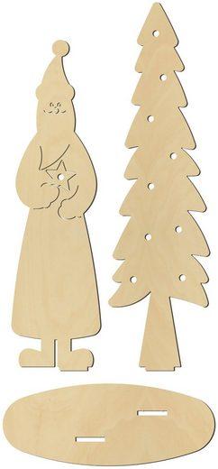 VBS Dekoobjekt »Weihnachtsmann mit Tanne«, beleuchtbar, 3 Teile