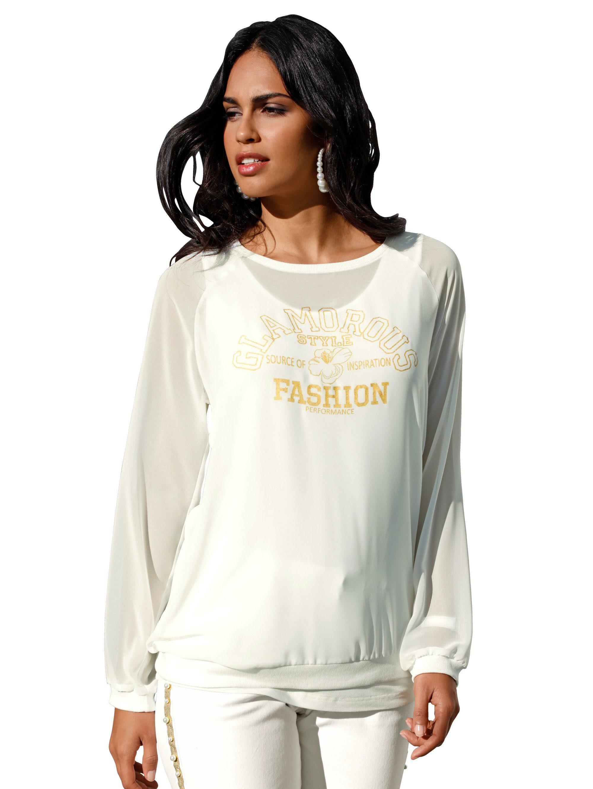 Schönes Feinstrick Shirt Tunika STERNE Strass A-Form 44 46 48