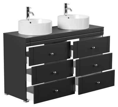Emotion Waschtisch »Stand Badmöbel Memoria Klassik schwarz seidenglanz mit Aufsatzwaschbecken«