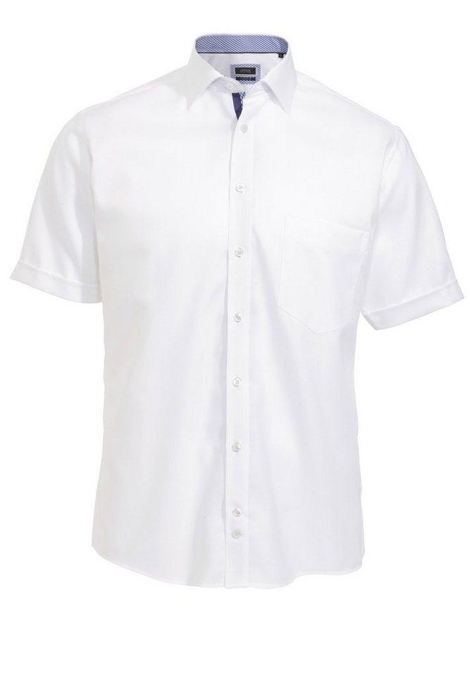 Hatico Modisches Halbarmhemd in uni weiß