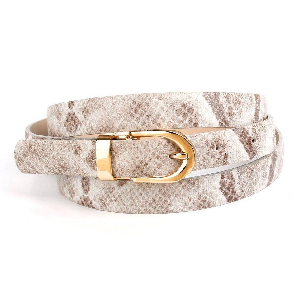 Anthoni Crown Ledergürtel in Schlangendesign in Beige