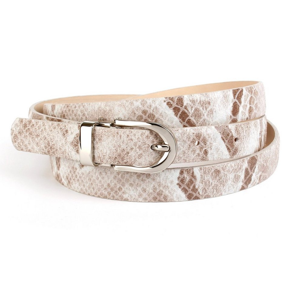 Anthoni Crown Ledergürtel in Schlangendesign in Grau