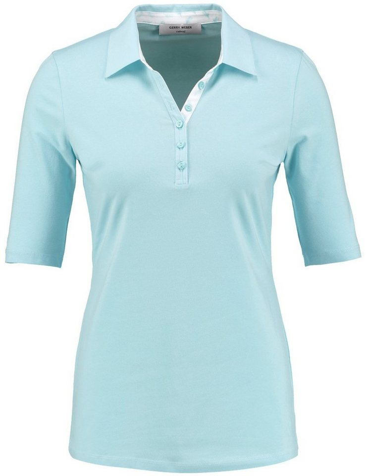 Gerry Weber T-Shirt 1/2 Arm »Polo-Shirt mit Kontrastbesatz« in Türkis