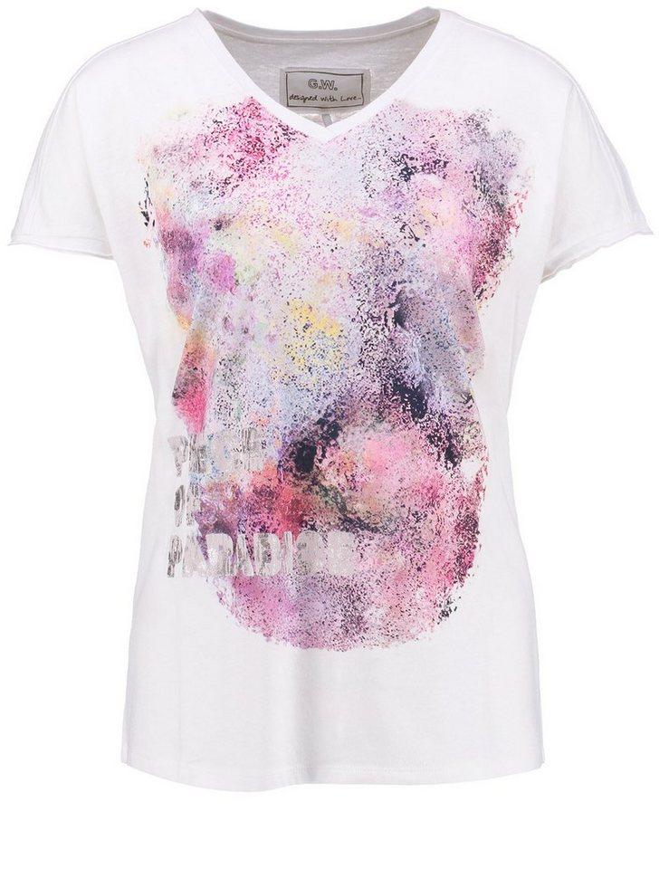 Gerry Weber T-Shirt Kurzarm Rundhals »1/2 Arm Shirt mit Icon-Print« in Weiss/Weiss