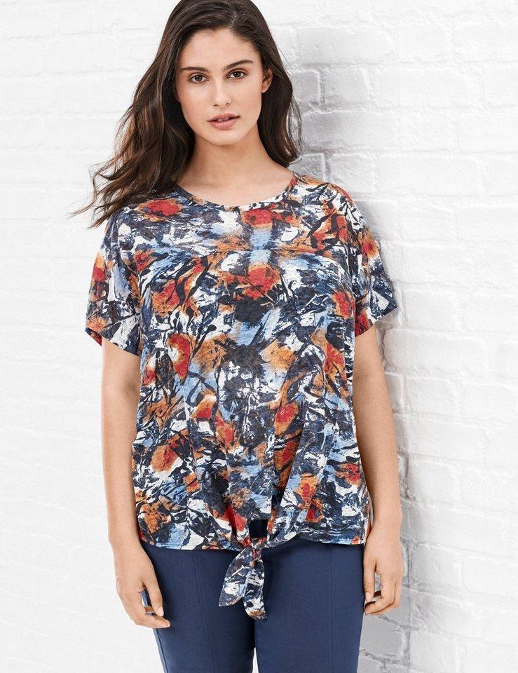 Samoon T-Shirt Kurzarm Rundhals »Peppiges Oversized-Shirt« in Pazifikblau Druck