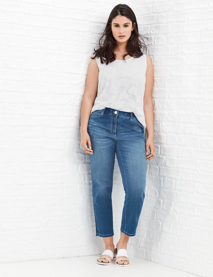 Samoon Hose Jeans verkürzt »Coole 3/4 Jeans, Betty« in Light Blue Denim