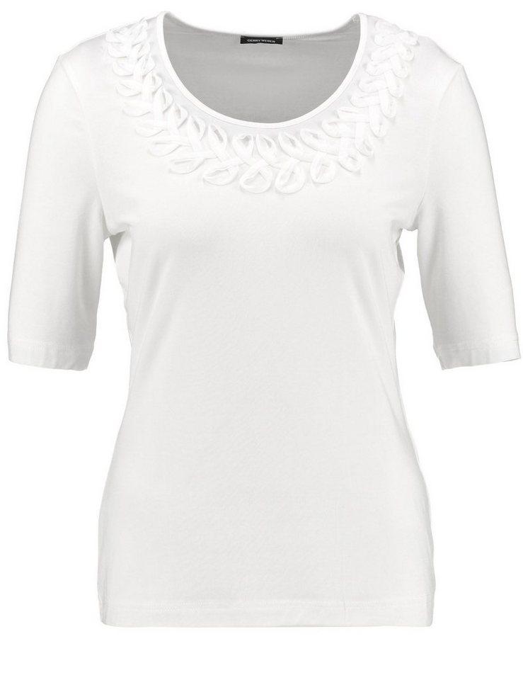 Gerry Weber T-Shirt Kurzarm Rundhals »1/2 Arm Shirt mit Chiffiontapes« in Off-White
