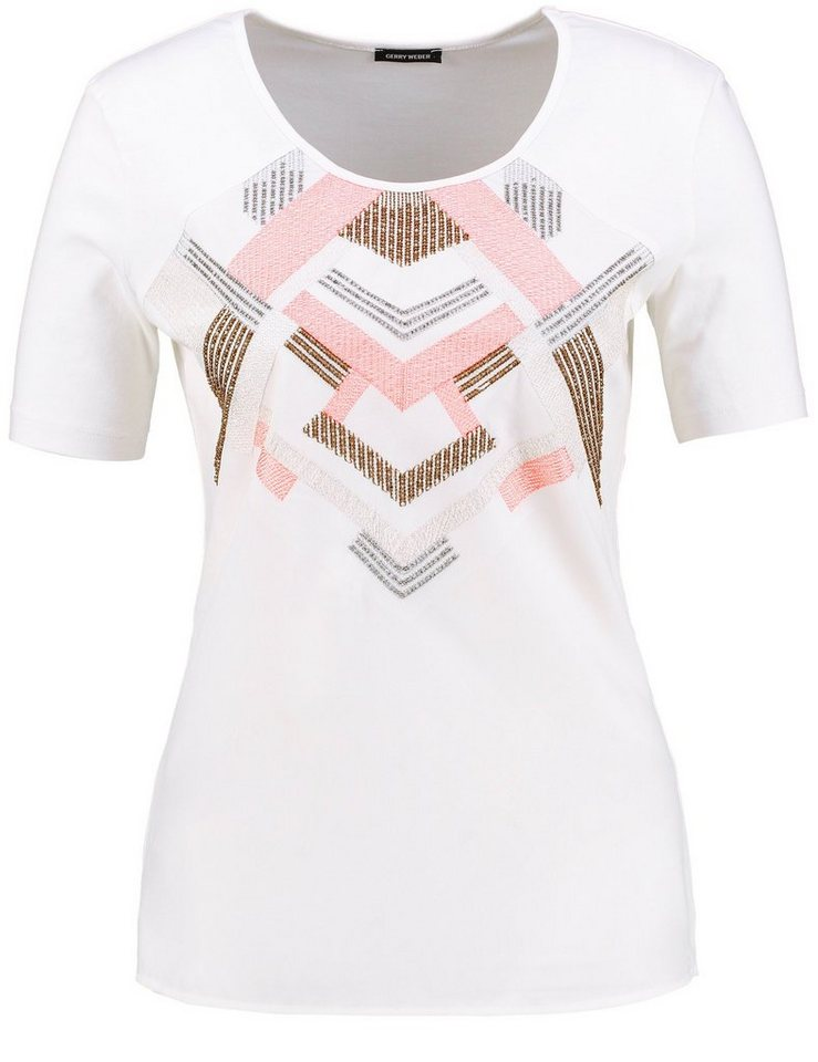 Gerry Weber T-Shirt Kurzarm Rundhals »1/2 Arm Shirt mit Stickereibesatz« in Off-White