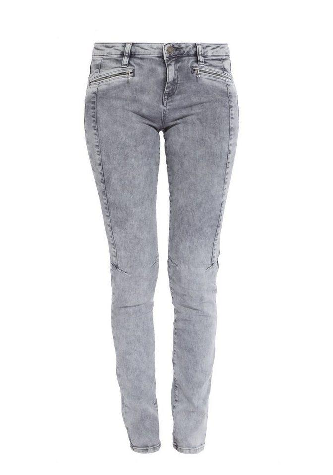 Mexx Stretch-Jeans mit Taschen und Knienähten in grau