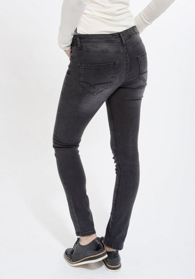 Mexx Slim-fit-Jeans mit Knieabnähern in schwarz