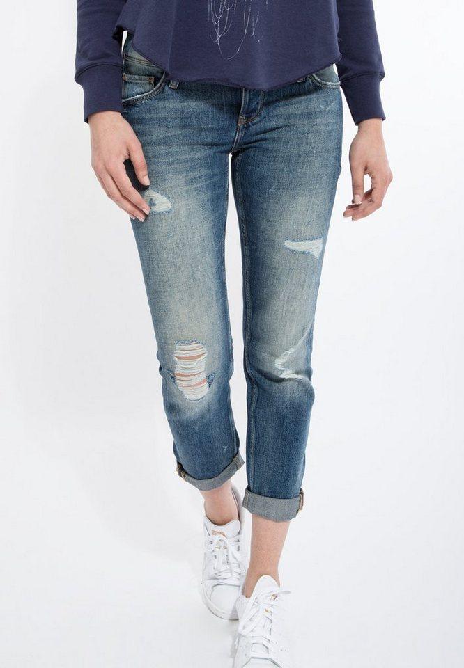 Mexx Boyfriend-Jeans in cooler Waschung in blau
