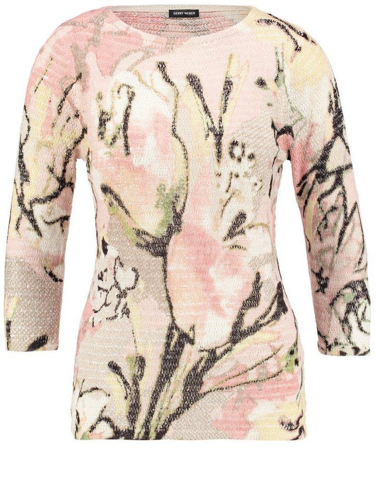 Gerry Weber Pullover 3/4 Arm Rundhals »Pullover mit kunstvollem Druck« in Lila/Pink/Ecru/Weiss