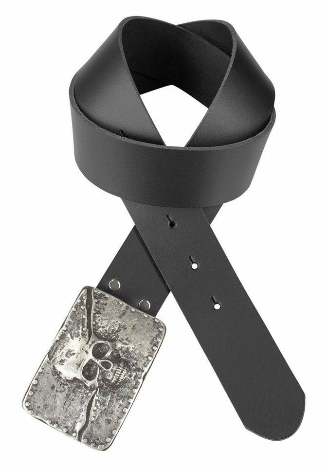 J. Jayz Koppelgürtel mit Totenkopf in schwarz