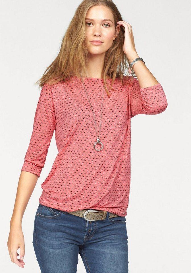 s.Oliver RED LABEL Klassische Bluse mit allover Druck in rosé-gemustert