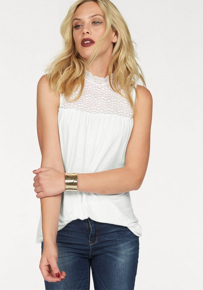 Vero Moda Tanktop »BYSHA« in femininer A-Form in weiß