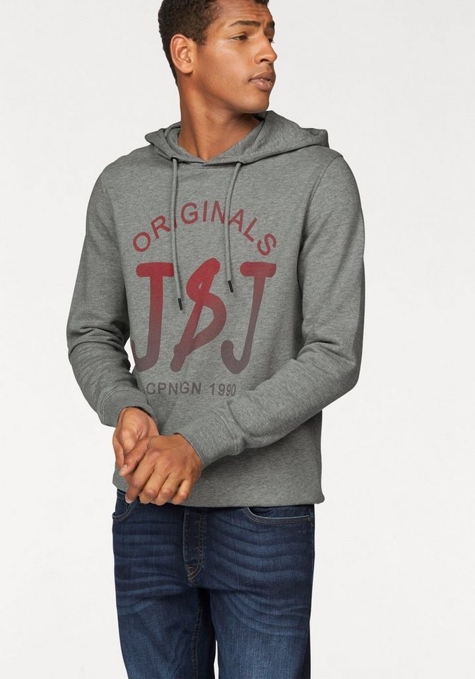 Jack & Jones Kapuzensweatshirt in grau-meliert