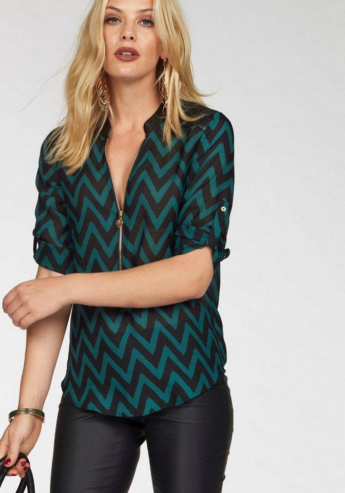 Melrose Chiffonbluse mit Zipper-Ausschnitt in petrol-schwarz