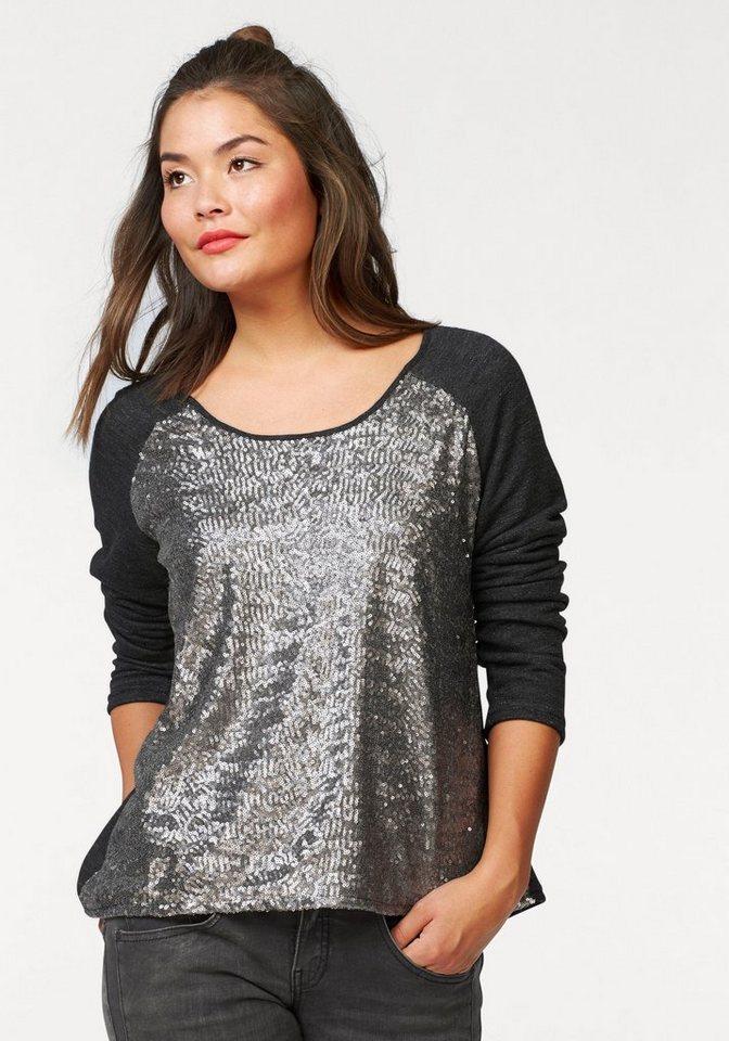 Herrlicher Sweatshirt »Meara« mit tollem Paillettenbesatz in grau