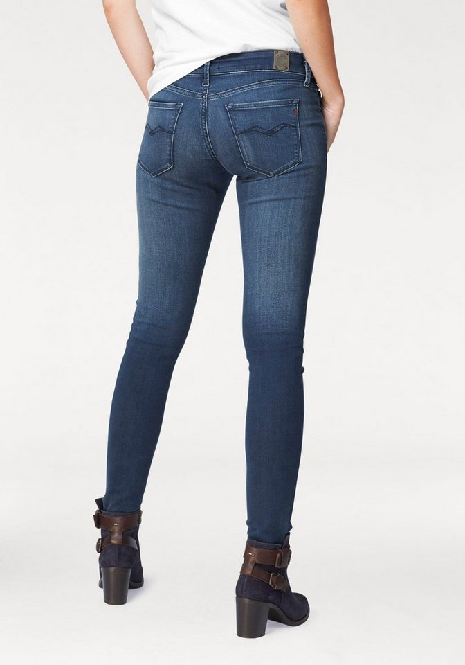 Replay Röhrenjeans »Luz« Power Strech Denim in mid-blue-used-vintage